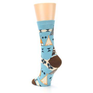 Image of Blue Brown Diamond Pattern Women's Dress Socks (side-2-back-15)