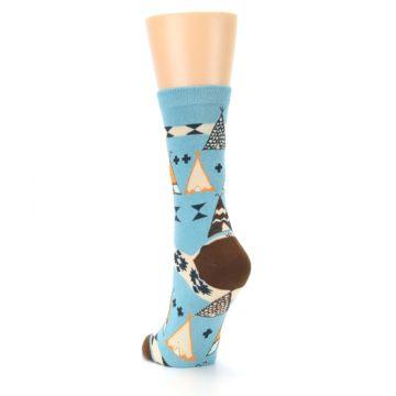 Image of Blue Brown Diamond Pattern Women's Dress Socks (side-2-back-16)