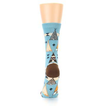 Image of Blue Brown Diamond Pattern Women's Dress Socks (back-18)