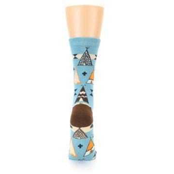 Image of Blue Brown Diamond Pattern Women's Dress Socks (back-19)