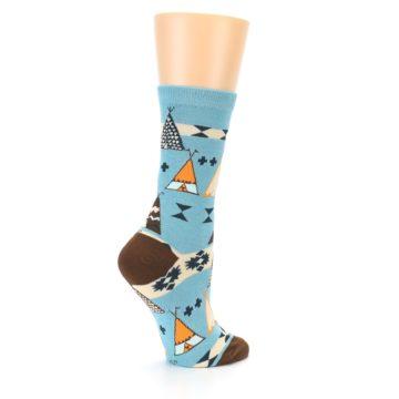 Image of Blue Brown Diamond Pattern Women's Dress Socks (side-1-23)