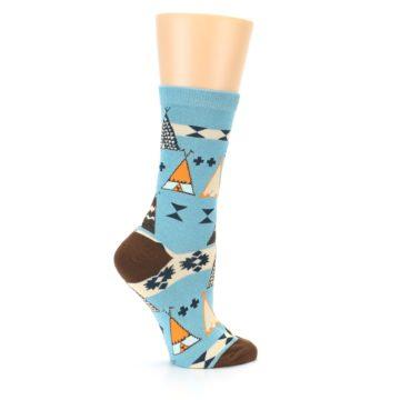 Image of Blue Brown Diamond Pattern Women's Dress Socks (side-1-24)