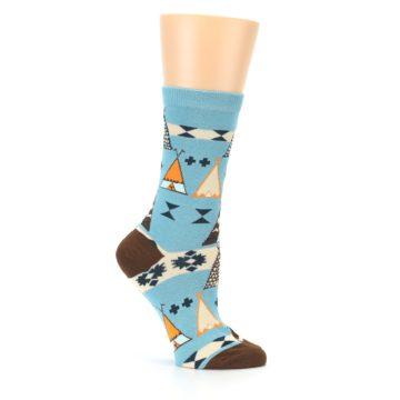 Image of Blue Brown Diamond Pattern Women's Dress Socks (side-1-25)