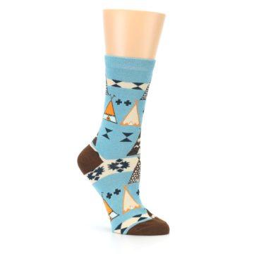 Image of Blue Brown Diamond Pattern Women's Dress Socks (side-1-26)