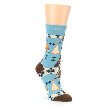 Image of Blue Brown Diamond Pattern Women's Dress Socks (side-1-27)
