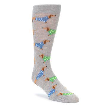 Grey Dachshund Dogs Mens Dress Socks Good Luck Socks