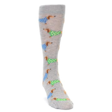 Image of Grey Dachshund Dogs Men's Dress Sock (side-1-front-03)