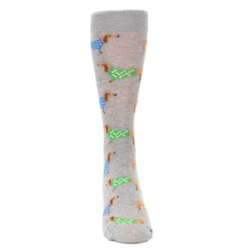 Image of Grey Dachshund Dogs Men's Dress Sock (front-04)