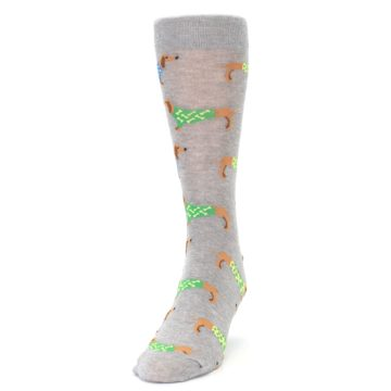 Image of Grey Dachshund Dogs Men's Dress Sock (side-2-front-06)