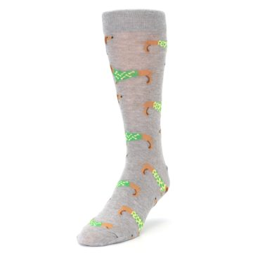 Image of Grey Dachshund Dogs Men's Dress Sock (side-2-front-07)