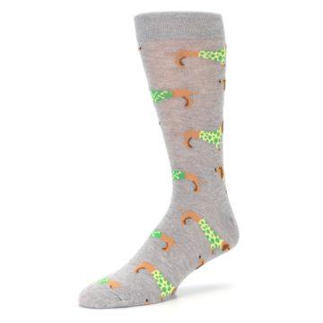 Image of Grey Dachshund Dogs Men's Dress Sock (side-2-09)