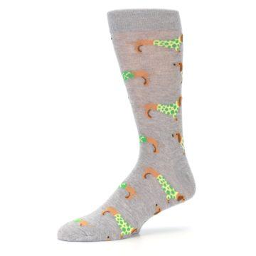 Image of Grey Dachshund Dogs Men's Dress Sock (side-2-10)