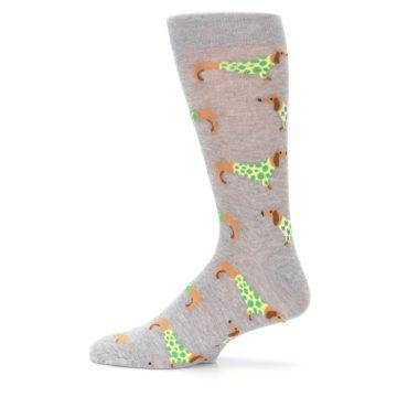 Image of Grey Dachshund Dogs Men's Dress Sock (side-2-12)