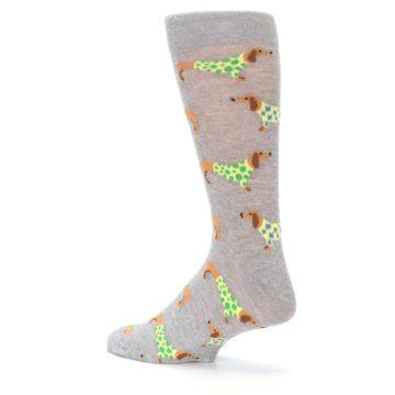 Image of Grey Dachshund Dogs Men's Dress Sock (side-2-back-14)