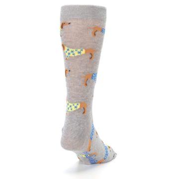 Image of Grey Dachshund Dogs Men's Dress Sock (side-1-back-20)