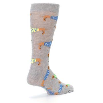 Image of Grey Dachshund Dogs Men's Dress Sock (side-1-back-22)