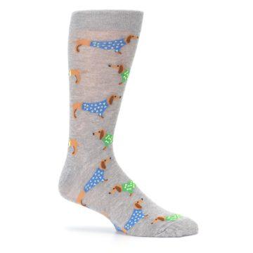 Image of Grey Dachshund Dogs Men's Dress Sock (side-1-25)