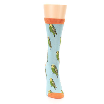 Image of Blue Budgie Bird Women's Bamboo Dress Socks (front-04)
