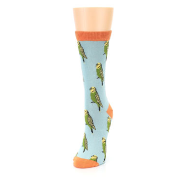 Image of Blue Budgie Bird Women's Bamboo Dress Socks (side-2-front-07)