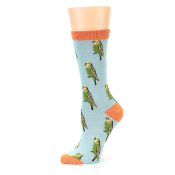 Image of Blue Budgie Bird Women's Bamboo Dress Socks (side-2-10)
