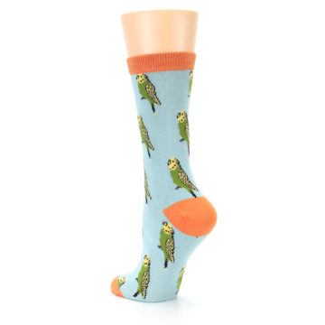 Image of Blue Budgie Bird Women's Bamboo Dress Socks (side-2-back-15)