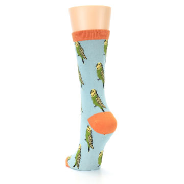 Image of Blue Budgie Bird Women's Bamboo Dress Socks (side-2-back-16)