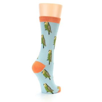 Image of Blue Budgie Bird Women's Bamboo Dress Socks (side-1-back-22)
