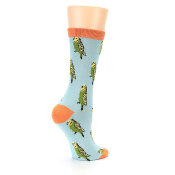 Image of Blue Budgie Bird Women's Bamboo Dress Socks (side-1-23)