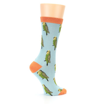 Image of Blue Budgie Bird Women's Bamboo Dress Socks (side-1-24)