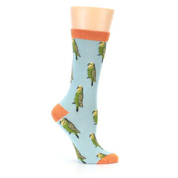 Image of Blue Budgie Bird Women's Bamboo Dress Socks (side-1-25)