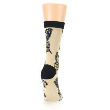 Image of Beige Black Butterflies Women's Bamboo Dress Socks (side-1-back-20)