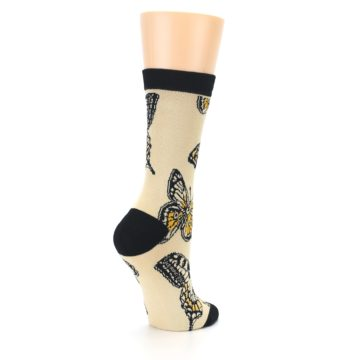 Image of Beige Black Butterflies Women's Bamboo Dress Socks (side-1-back-22)