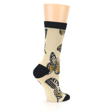 Image of Beige Black Butterflies Women's Bamboo Dress Socks (side-1-23)