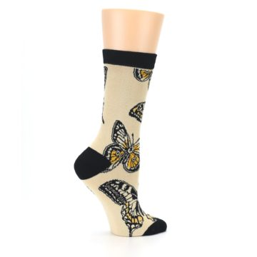 Image of Beige Black Butterflies Women's Bamboo Dress Socks (side-1-24)