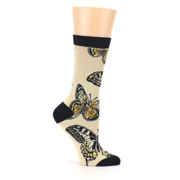 Image of Beige Black Butterflies Women's Bamboo Dress Socks (side-1-25)