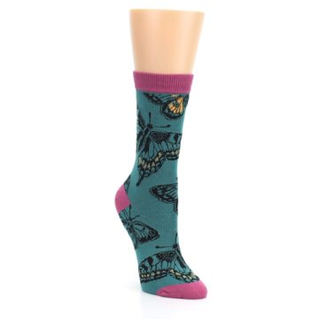 Teal Black Butterflies Womens Bamboo Dress Socks Socksmith