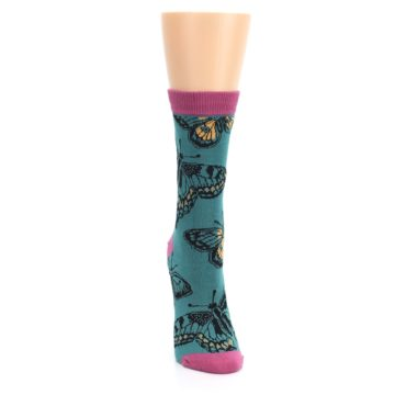 Image of Teal Black Butterflies Women's Bamboo Dress Socks (front-04)