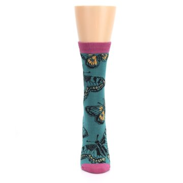 Image of Teal Black Butterflies Women's Bamboo Dress Socks (front-05)