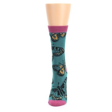 Image of Teal Black Butterflies Women's Bamboo Dress Socks (side-2-front-06)