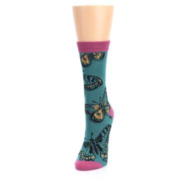 Image of Teal Black Butterflies Women's Bamboo Dress Socks (side-2-front-07)