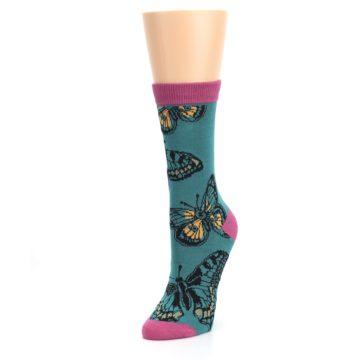 Image of Teal Black Butterflies Women's Bamboo Dress Socks (side-2-front-08)
