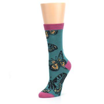 Image of Teal Black Butterflies Women's Bamboo Dress Socks (side-2-09)