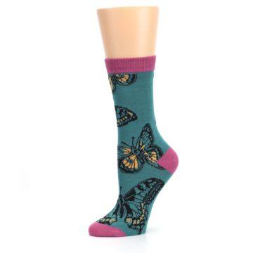 Image of Teal Black Butterflies Women's Bamboo Dress Socks (side-2-10)