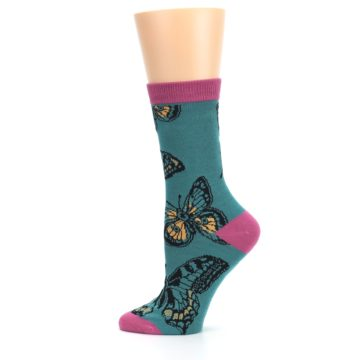 Image of Teal Black Butterflies Women's Bamboo Dress Socks (side-2-12)