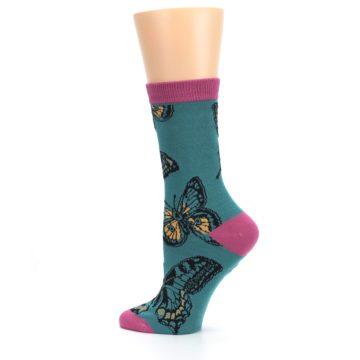 Image of Teal Black Butterflies Women's Bamboo Dress Socks (side-2-13)