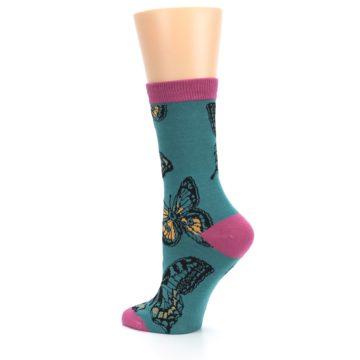 Image of Teal Black Butterflies Women's Bamboo Dress Socks (side-2-back-14)