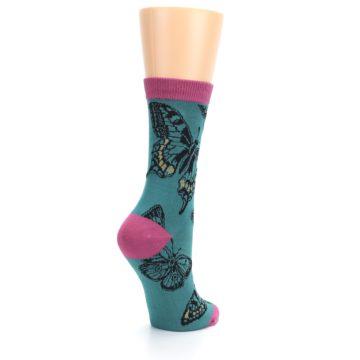 Image of Teal Black Butterflies Women's Bamboo Dress Socks (side-1-back-22)