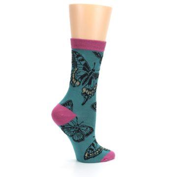 Image of Teal Black Butterflies Women's Bamboo Dress Socks (side-1-24)
