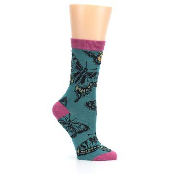 Image of Teal Black Butterflies Women's Bamboo Dress Socks (side-1-26)