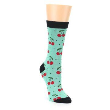 Image of Green Red Cherries Women's Bamboo Dress Socks (side-1-front-02)